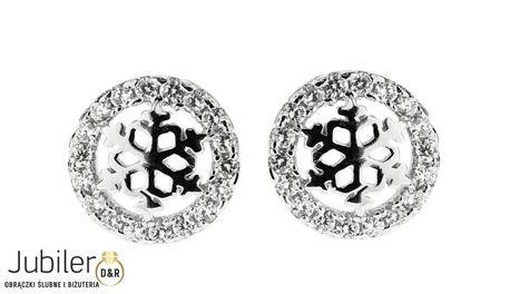 Kolczyki srebrne  pr.925 śnieżynki    (1)