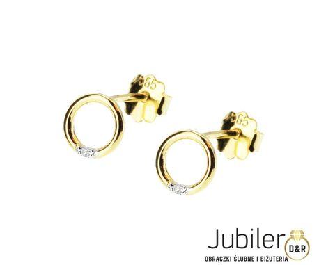 Kolczyki z żółtego złota z brylantami 0,01 ct pr.585 (1)