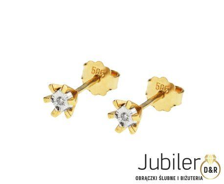 Kolczyki z żółtego złota z brylantami 0,02 ct pr.585 (1)