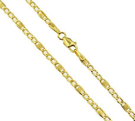 Łańcuszek złoty  pr 585 Figaro z blaszką  (1)