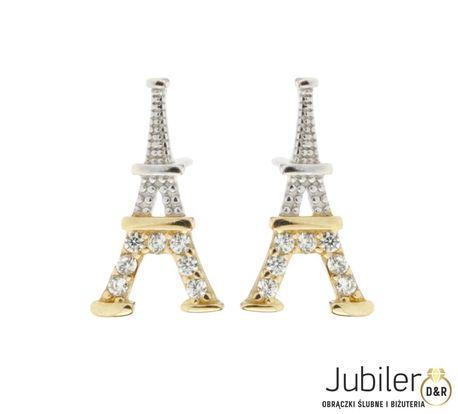 Kolczyki złote pr.585 Wieża Eiffla (1)