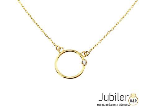 Naszyjnik złoty pr 585  okrąg z cyrkonią  (1)