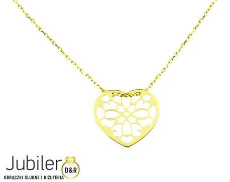 Naszyjnik złoty pr 585 serduszko ażurowe  (1)