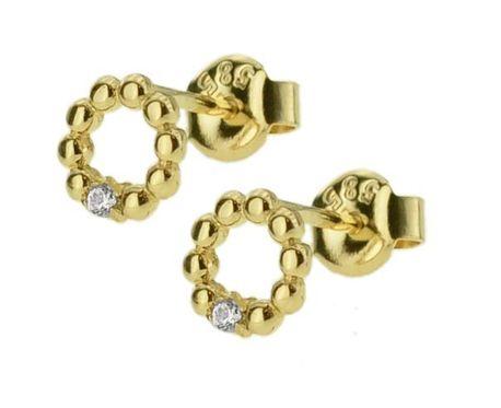 Kolczyki złote pr.585 okręgi z cyrkonią  (1)