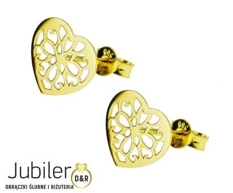 Kolczyki złote pr.585 serduszka ażurowe  (1)