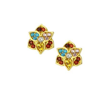 Kolczyki złote pr.585 kolorowe kamienie (1)