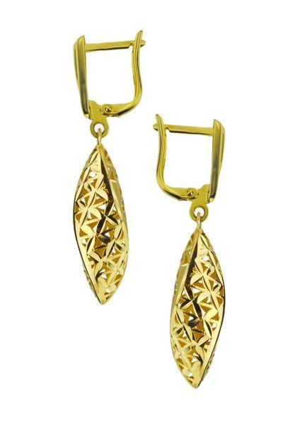 Kolczyki złote pr.585 diamentowane wiszące (1)