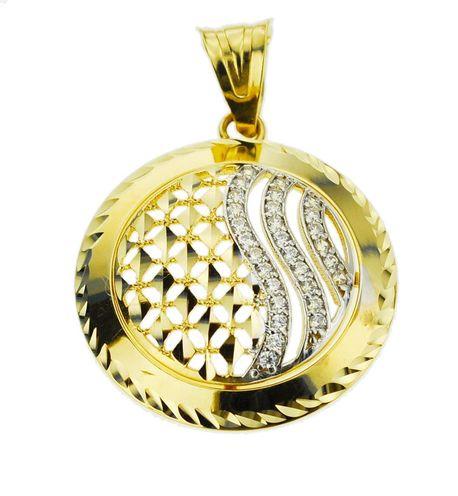 Wisiorek złoty pr.585 koło z cyrkonami (1)