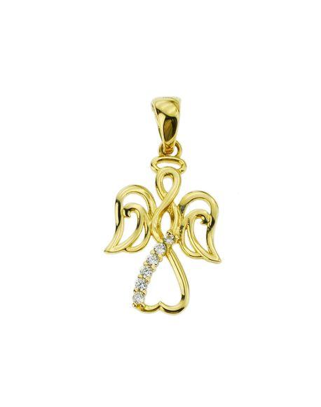 Wisiorek złoty pr.585 aniołek z cyrkoniami  (1)