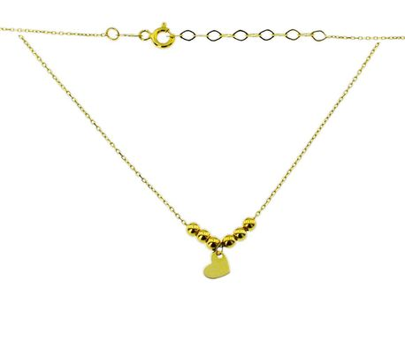 Naszyjnik złoty pr 585 serduszko z kuleczkami (1)