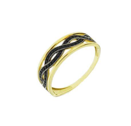 Pierścionek złoty pr.585 fale czarne cyrkonie (1)